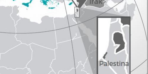 afbeelding van een landkaart waarop palestina zichtbaar is
